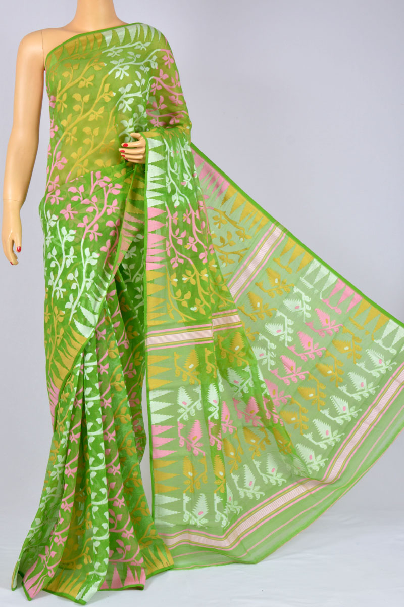 Green Color Soft Dhakai Jamdani Handwoven Bengal Handloom Kora Cotton Tant Saree (without Blouse) - Mc250125