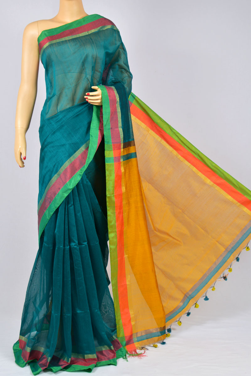Teal Green Color Soft Dhakai Jamdani Handwoven Bengal Handloom Kora Normal Silk Saree (Without Blouse) - MC250126