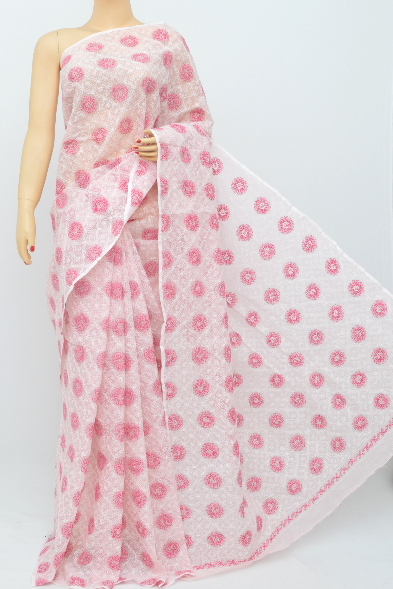 Pink Color Multi Thread Hand Embroidered Lucknowi Chikankari Saree (without Blouse) Kc250525