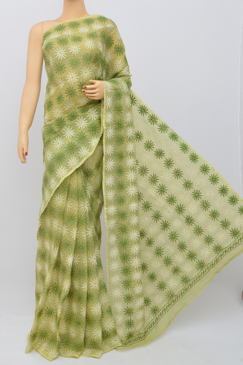 Green Color Multi Thread Hand Embroidered Lucknowi Chikankari Saree (Without Blouse) KC250527