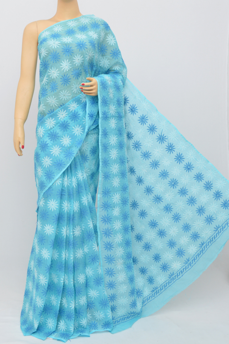 Blue Color Multi Thread Hand Embroidered Lucknowi Chikankari Saree (Without Blouse) SS250528