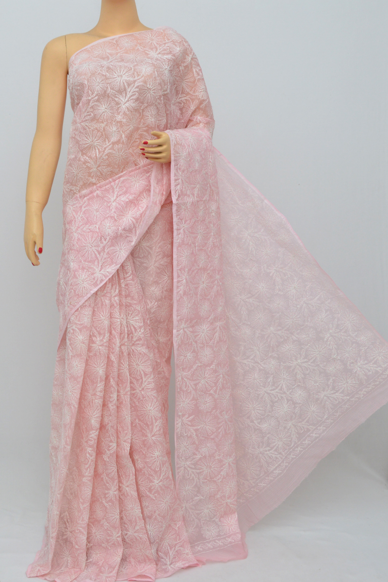 Pink Color Kota Cotton Tepchi Work Hand Embroidered Lucknowi Chikankari Saree (Without Blouse) MC250531