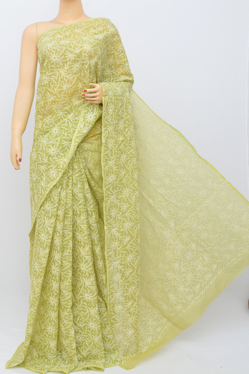 Green Color Kota Cotton Tepchi Work Hand Embroidered Lucknowi Chikankari Saree (Without Blouse) MC250532