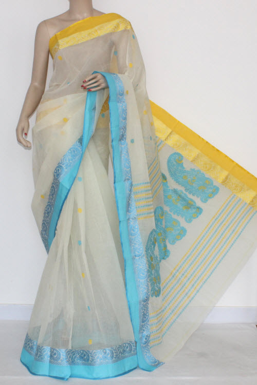 Off White Handwoven Bengal Tant Cotton Saree Ganga-Yamuna Border (Without Blouse) 17104
