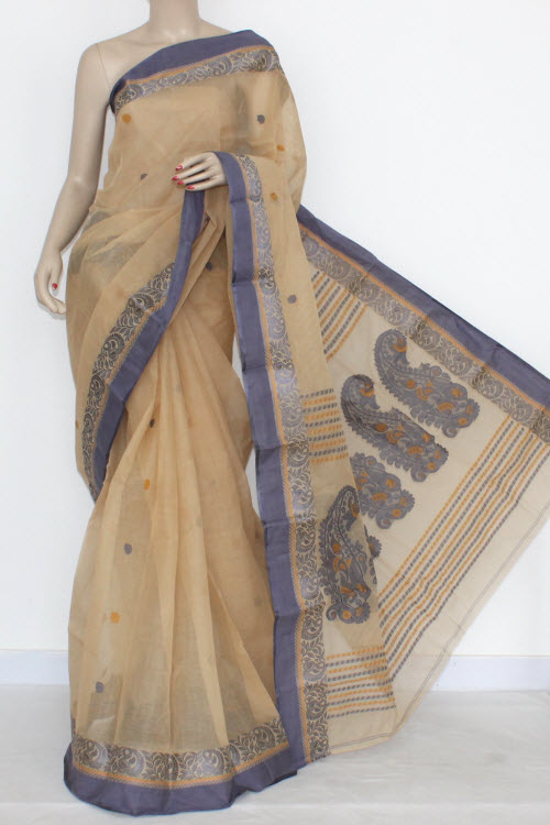 Fawn Handwoven Bengal Tant Fine Cotton Saree (Without Blouse) 17105