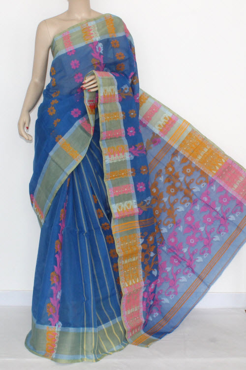 Blue Handwoven Bengal Tant Cotton Saree (Without Blouse) 17158