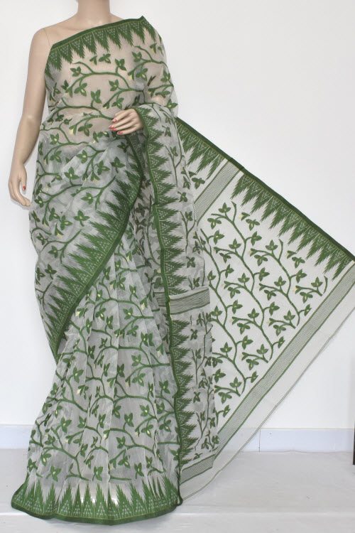 White Handwoven Bengali Tant Kora Cotton Jamdani Saree (Without Blouse) Green Booti 17216