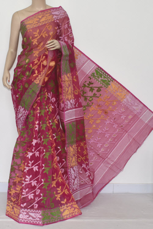 Rani Pink Handwoven Bengali Tant Kora Cotton Jamdani Saree (Without Blouse) Temple Border 17221