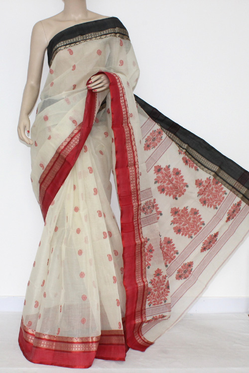 Off White Handwoven Bengal Tant Cotton Saree Ganga-Yamuna Border (Without Blouse) 17231