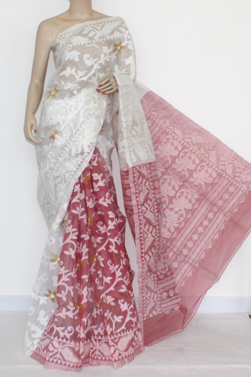 Move - White Handwoven Bengal Tant Cotton Saree (Without Blouse) Jamdani 17268