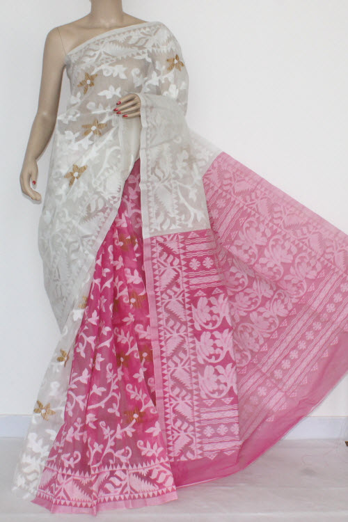 Pink - White Handwoven Bengal Tant Cotton Saree (Without Blouse) Jamdani 17269