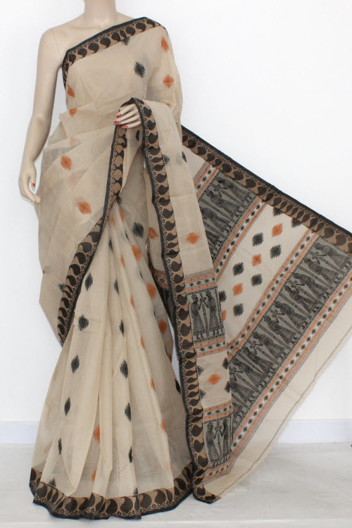 Fawn Designer Handwoven Bengali Tant Cotton Saree (With Blouse) Baluchuri Border 17290