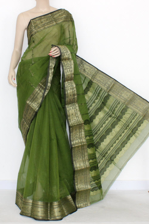 Menhdi Green Handwoven Bengali Tant Cotton Saree (Without Blouse) Zari Border 17292