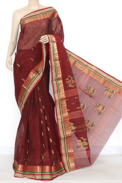 Maroon Designer Handwoven Bengali Tant Cotton Saree (Without Blouse) Zari Border 17293