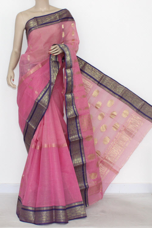 Pink Handwoven Bengali Tant Cotton Saree (Without Blouse) Half-Half 17294
