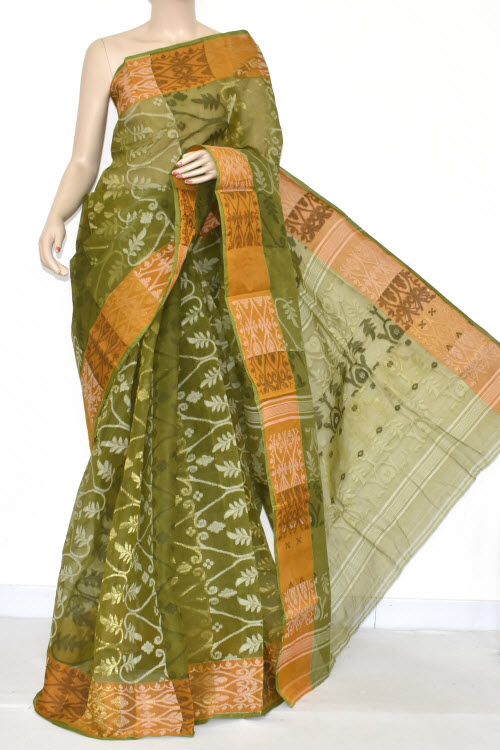 Menhdi Green Handwoven Bengali Tant Cotton Jamdani Saree (Without Blouse) 17346