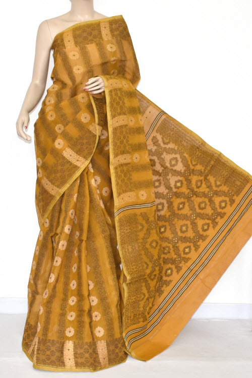 Mustared Handwoven Bengali Tant Cotton Jamdani Saree (With Blouse) 17348