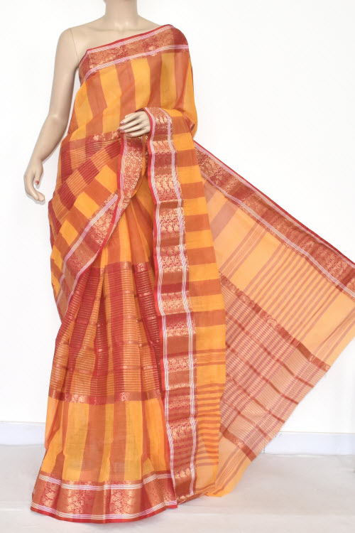 Yellow Red Handwoven Bengali Tant Cotton Saree (Without Blouse) Zari Border 17351