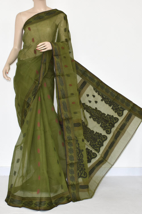 Menhdi Green Handwoven Bengal Tant Cotton Saree (without Blouse) 17371