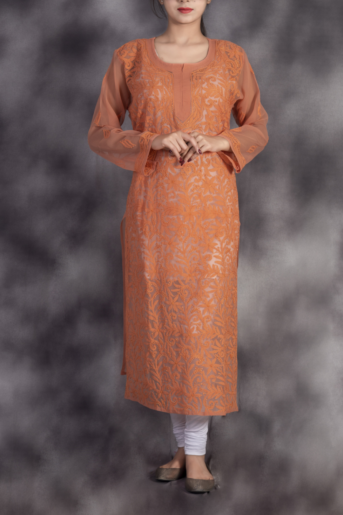 Hand Embroidered Peach Georgette Lucknowi Chikan Kurti-ga250631