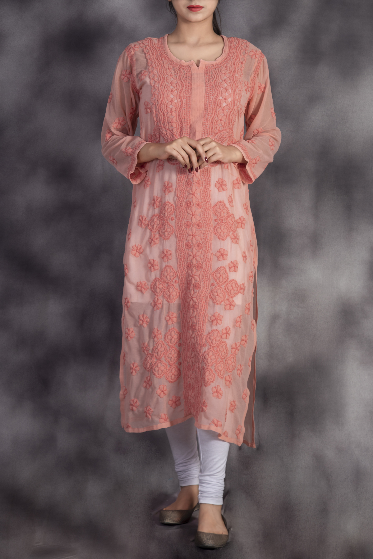 Hand Embroidered Rose Colour  Georgette Lucknowi Chikan Kurti-GA250632