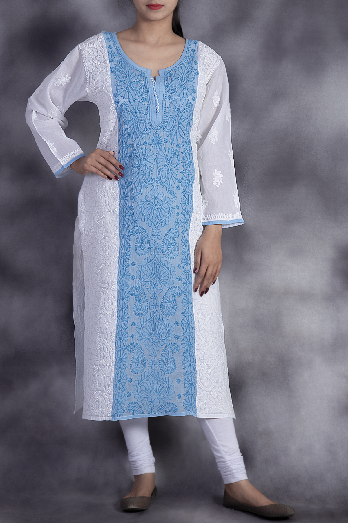 Hand Embroidered White & Blue Cotton Lucknowi Chikan Kurti-ga250636