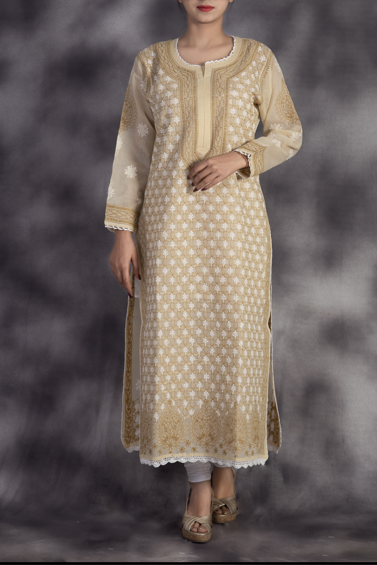 Hand Embroidered Fawn Cotton Lucknowi Chikan Long Kurti-ga250638