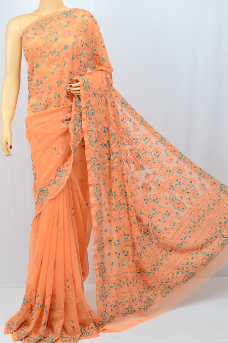 Orange Color Designe Pattern Resham Thread  Lucknowi Chikankari Saree (With Blouse - Georgette) MC250068