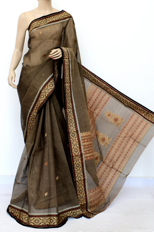 Brown Colour Handwoven Bengal Handloom Cotton Saree (Without Blouse) 17034