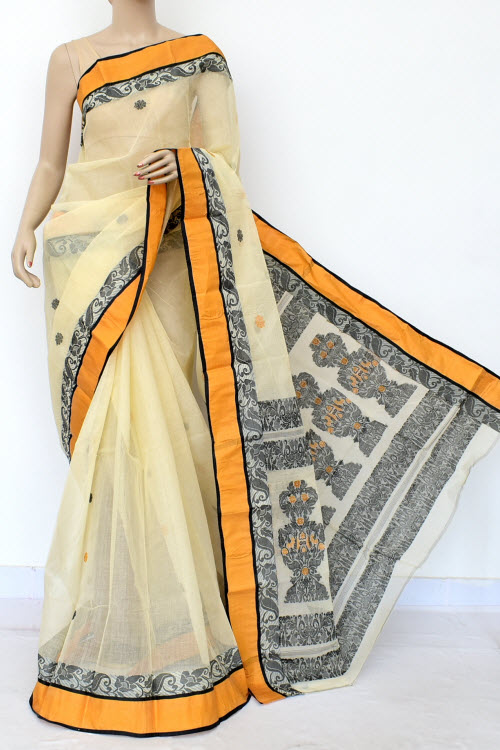 Offwhite Colour Handwoven Bengal Handloom Cotton Saree (Without Blouse) 17108