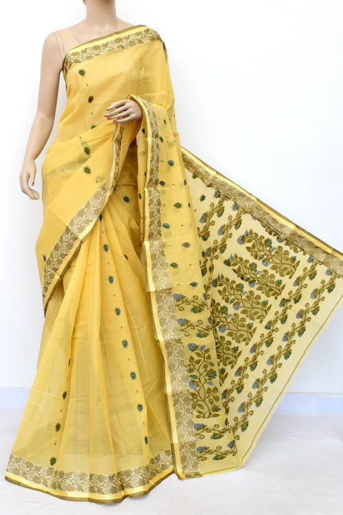 Daffodil Colour Handwoven Bengal Handloom Cotton Saree (Without Blouse) 17122