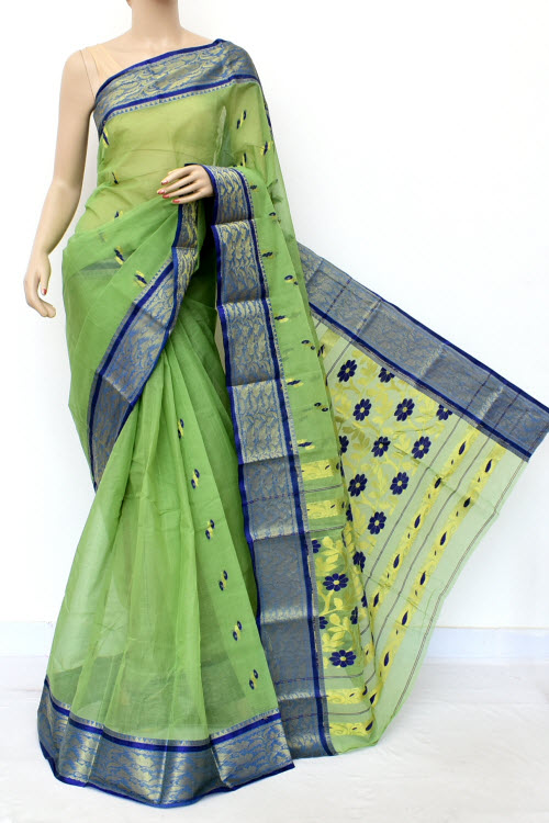 Light Green Colour Handwoven Bengal Handloom Cotton Saree (without Blouse) 17127