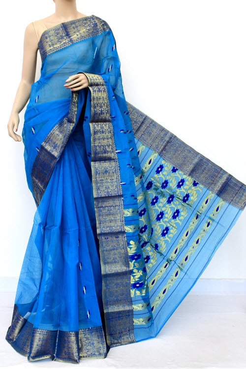 Blue Colour Handwoven Bengal Handloom Cotton Saree (Without Blouse) 17128