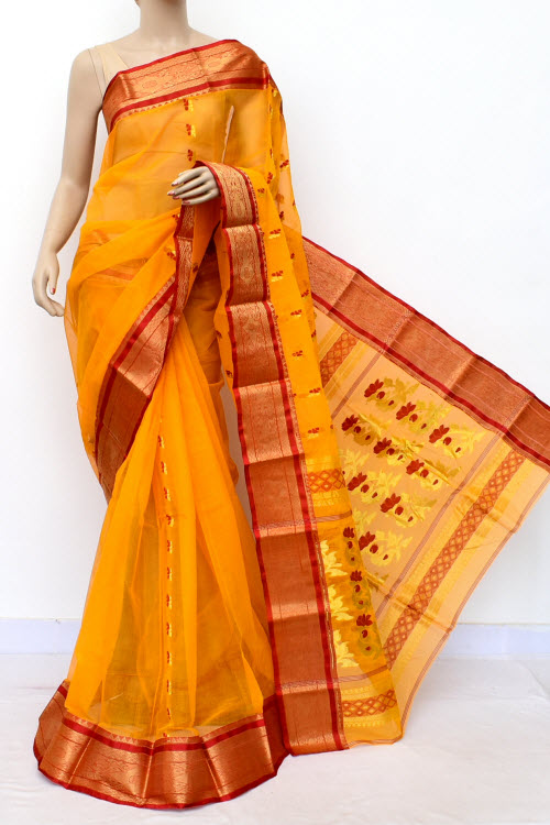 Yellow Colour Handwoven Bengal Handloom Cotton Saree (without Blouse) 17137
