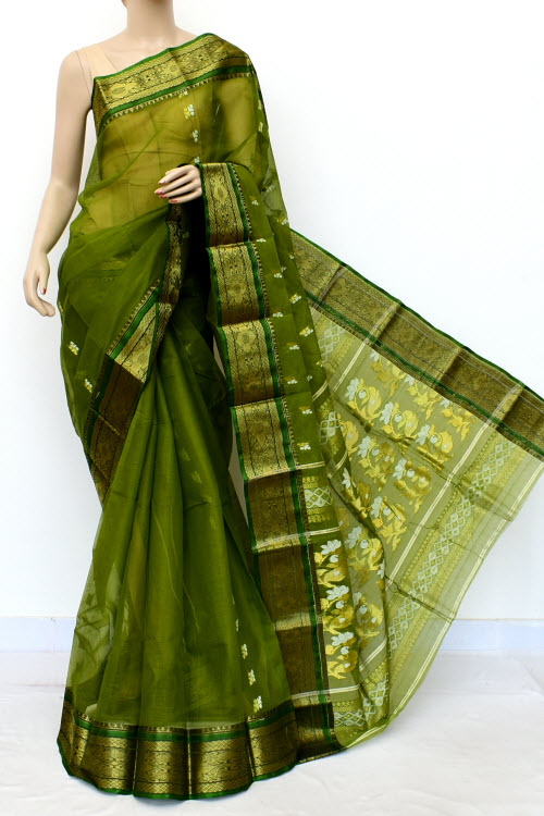 Pine Green Colour Handwoven Bengal Handloom Cotton Saree (Without Blouse) 17138