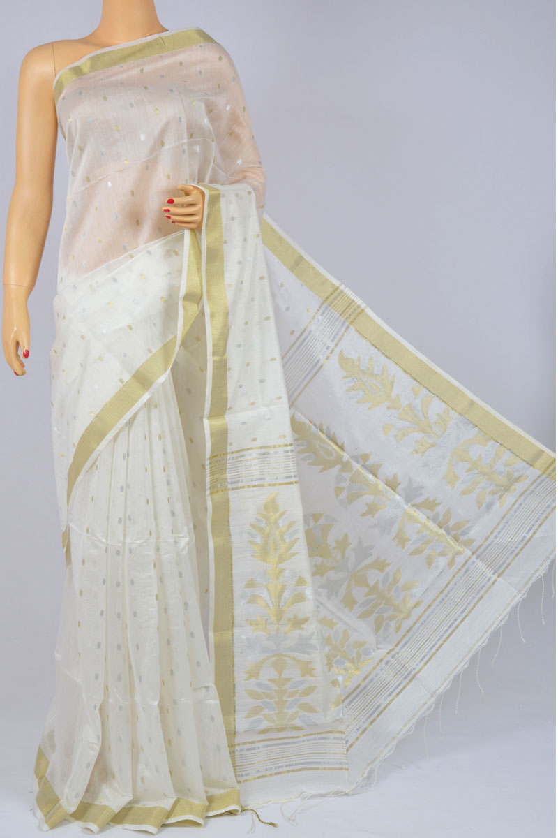 Off White Color Soft Dhakai Jamdani Handwoven Bengal Handloom Kora Silk Special Handmade Designed Pallu Saree (Without Blouse) - MC250130