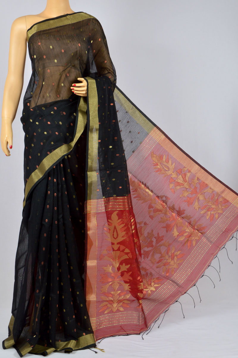 Black Color Soft Dhakai Jamdani Handwoven Bengal Handloom Kora Silk Special Handmade Designer Pallu Saree (Without Blouse) - MC250131
