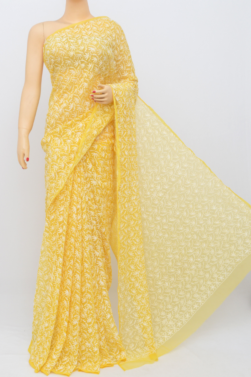 Yellow Color Hand Embroidered Tepchi Work Lucknowi Chikankari Saree (With Blouse - Georgette) MC250535