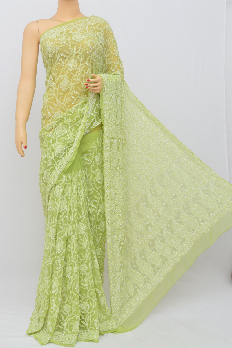 Green Color, Allover Jaal Heavy Palla Hand Embroidered Lucknowi Chikankari Saree (With Blouse - Georgette) SM250536