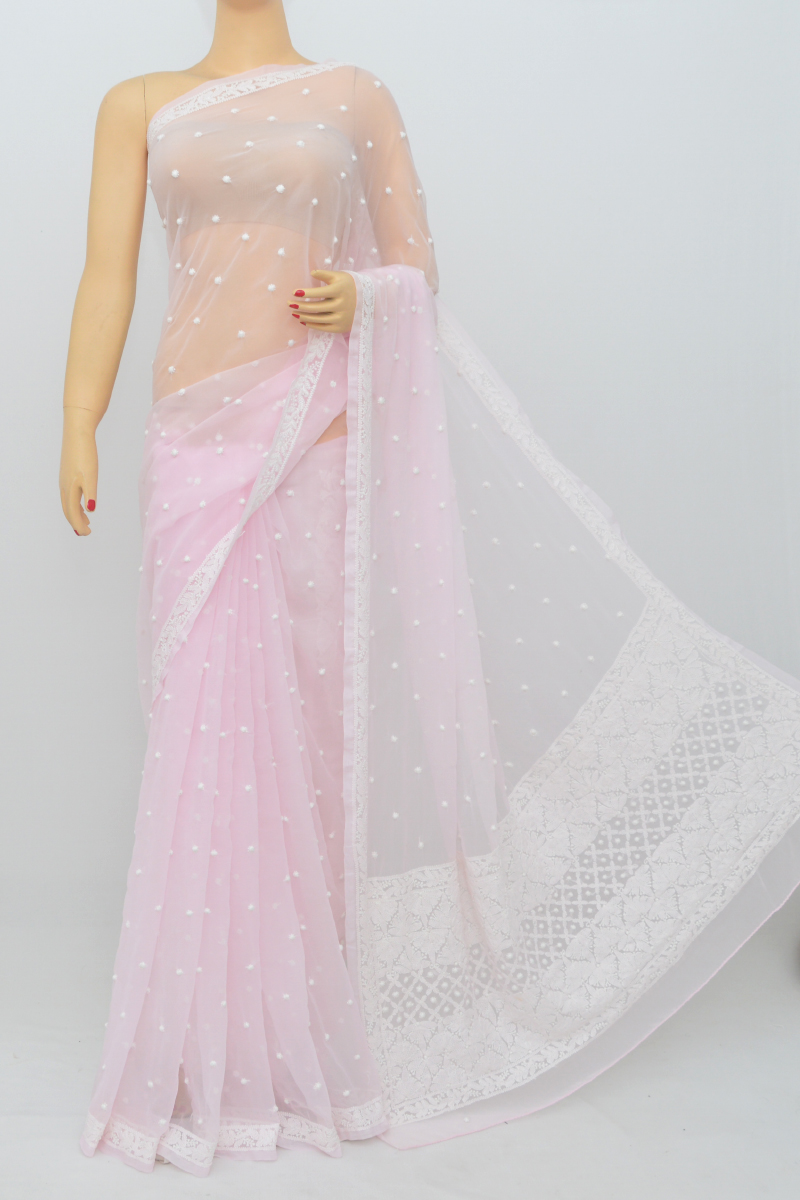 Pink Color, Allover Keel Jaal Work Lucknowi Chikankari Saree (With Blouse - Georgette) MC250537