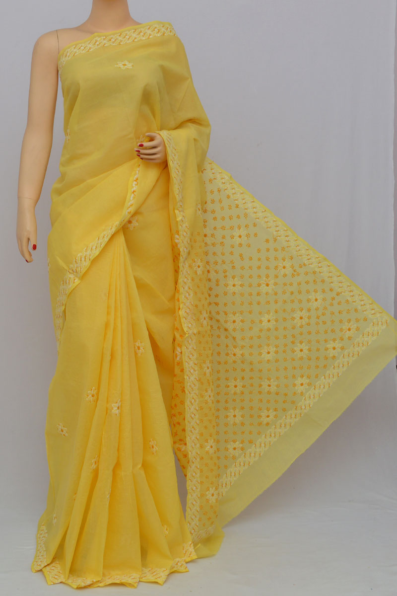 Yellow Color Hand Embroidered Lucknowi Chikankari Saree (With Blouse - Cotton) KC25300