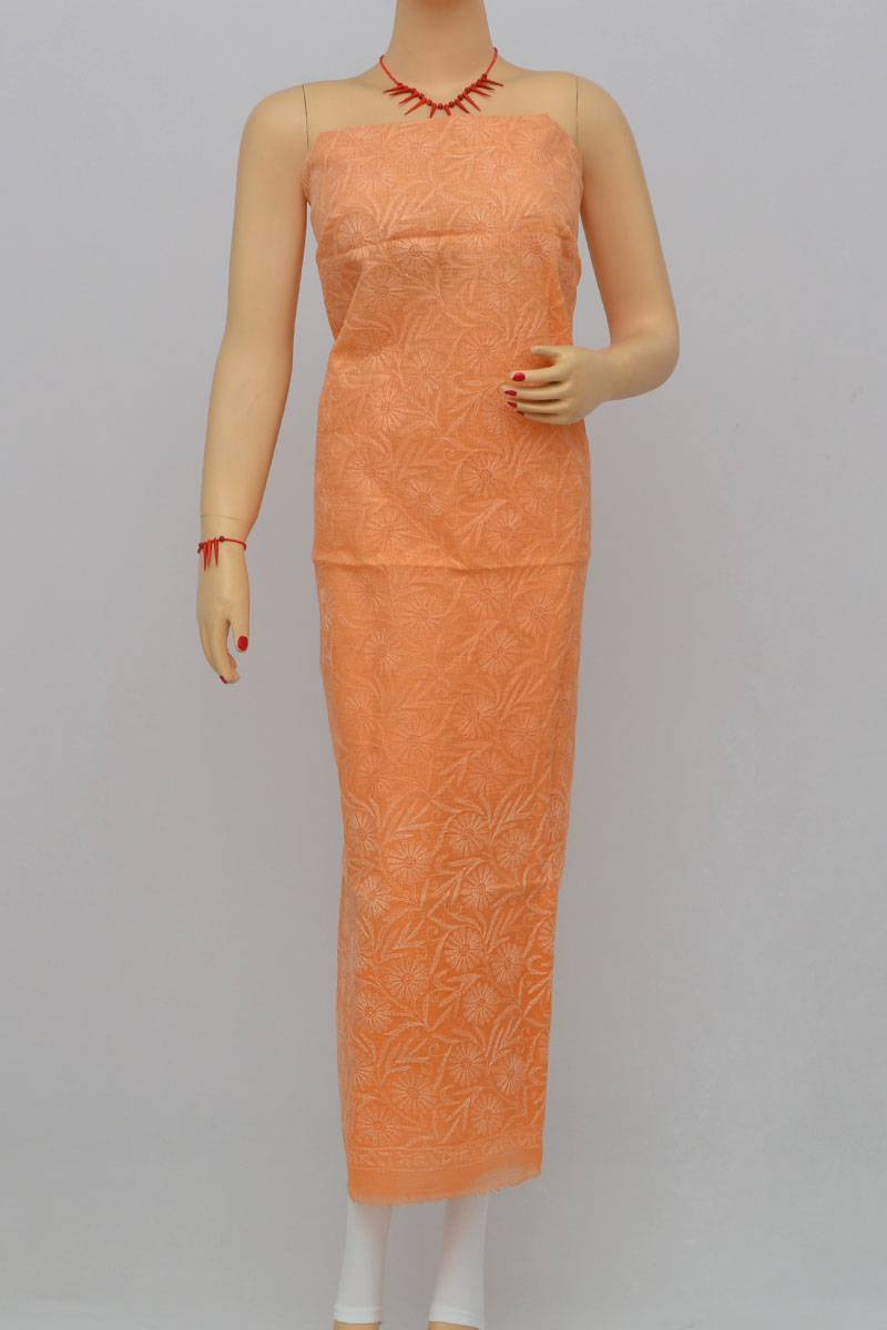 Orange Allover Tepchi Hand Embroidered Lucknowi Chikankari Shaded Kurti (Kota Cotton) MY250289
