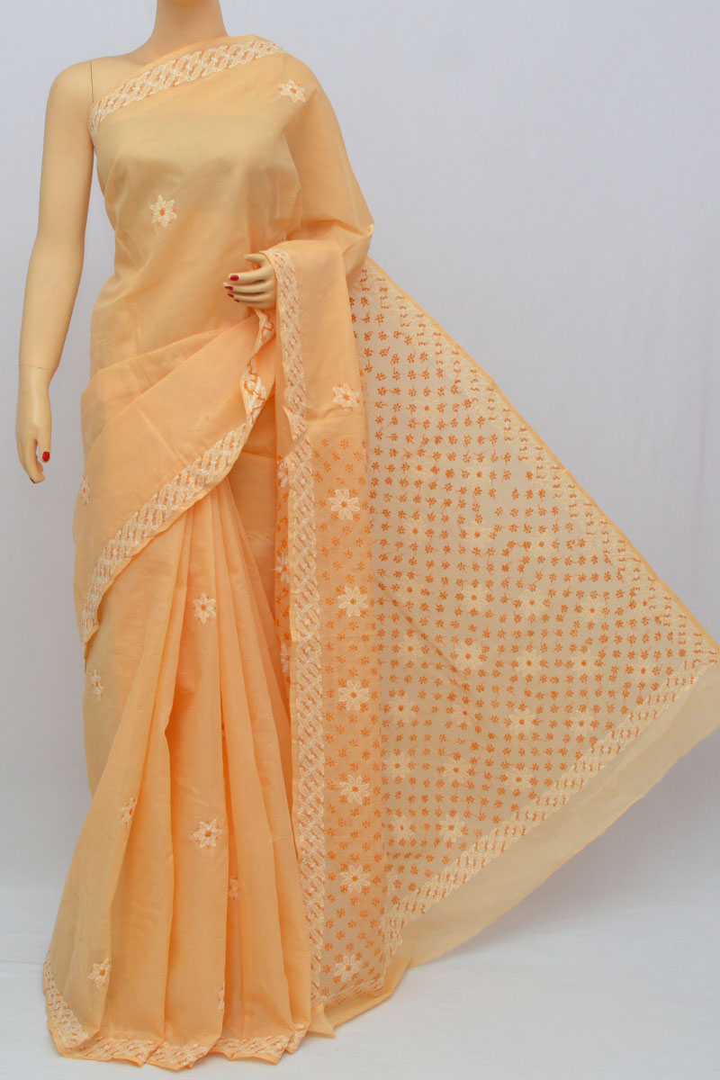 Light Orange Hand Embroidered Lucknowi Chikankari Saree (With Blouse - Cotton) KC250316