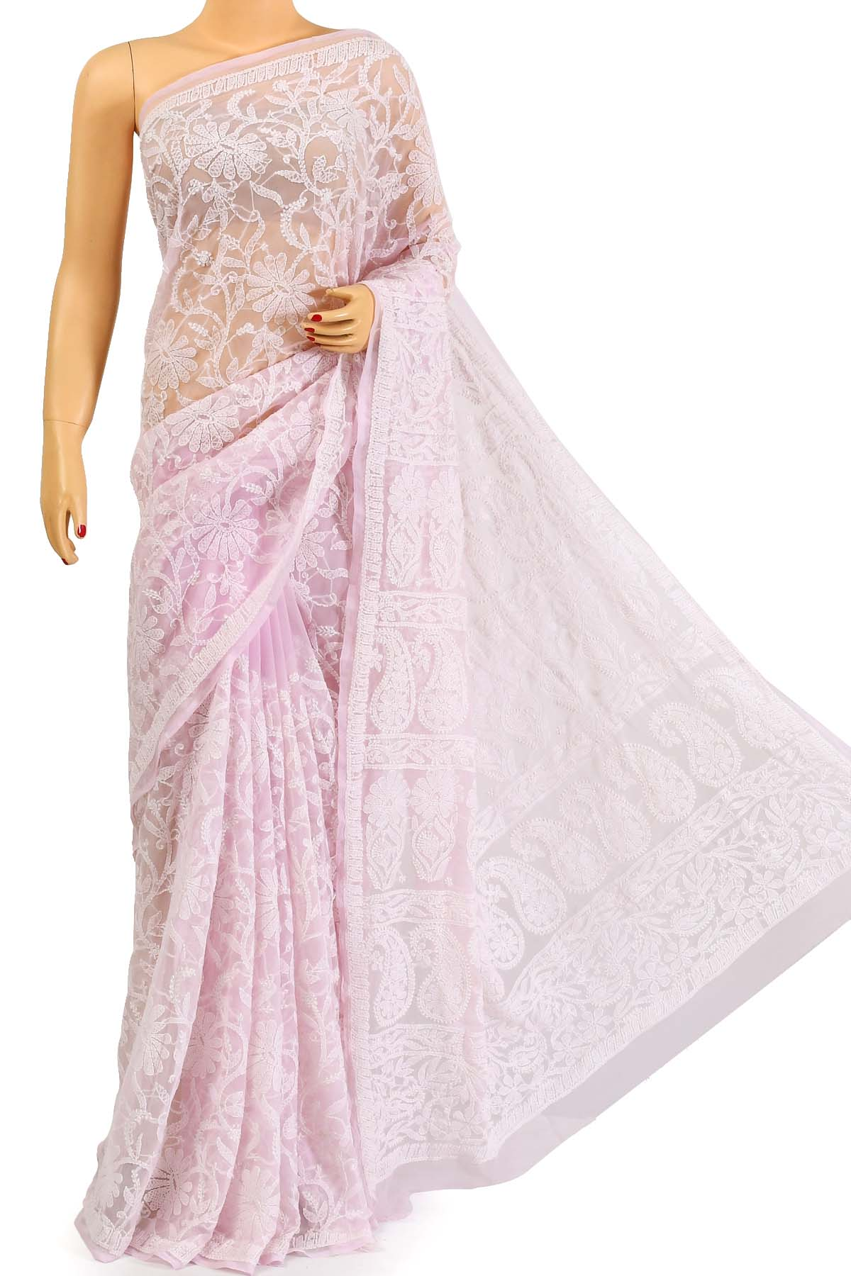 Babypink Color Allover Heavy Palla Hand Embroidered Lucknowi Chikankari Saree (With Blouse - Georgette) KC250689