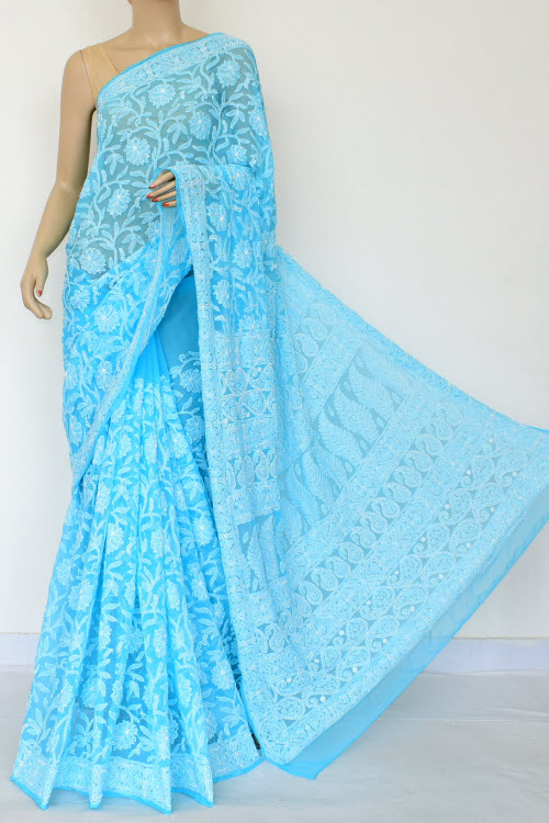 Blue Colour Hand Embroidered Lucknowi Chikankari Saree (Georgette-With Blouse) 14874