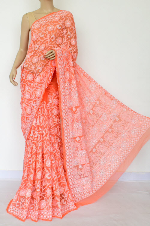 Orange Colour Hand Embroidered Lucknowi Chikankari Saree (Georgette-With Blouse) 14876