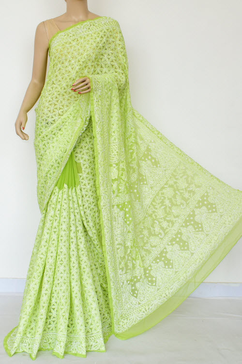 Lightgreen Hand Embroidered Lucknowi Chikankari Saree (Georgette-With Blouse) 14877