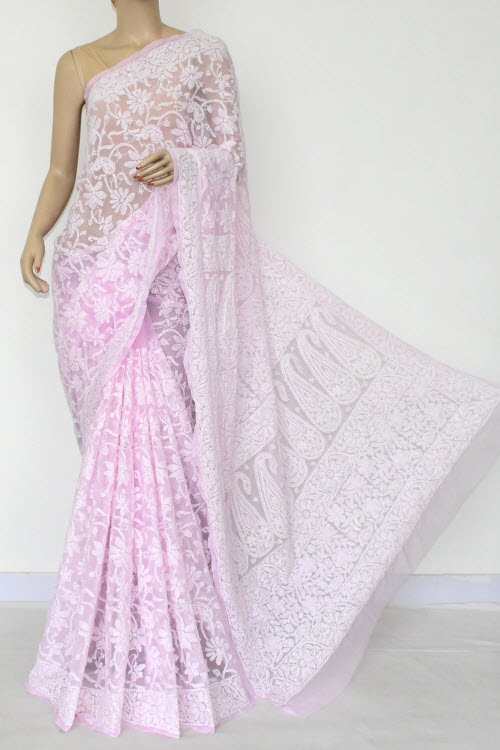 Lightpink Hand Embroidered Lucknowi Chikankari Saree (Georgette-With Blouse) 14899