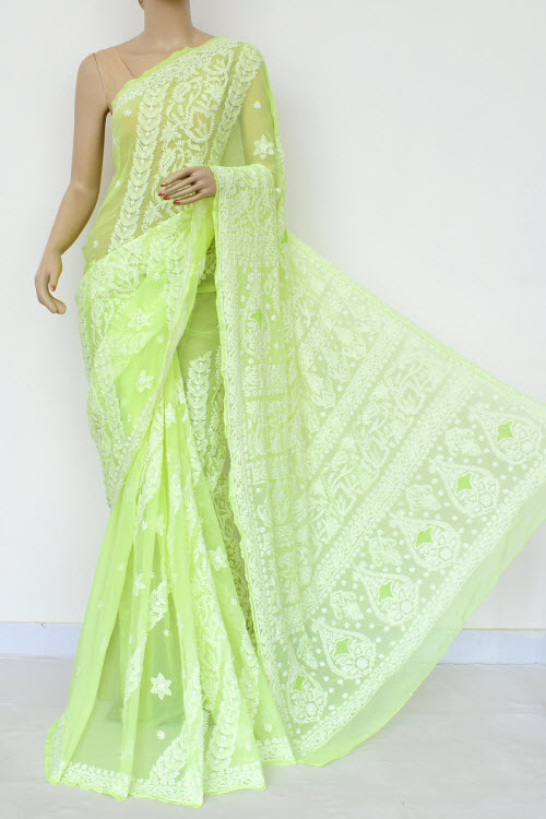 Lightgreen Colour Hand Embroidered Lucknowi Chikankari Saree (Georgette-With Blouse) 17314