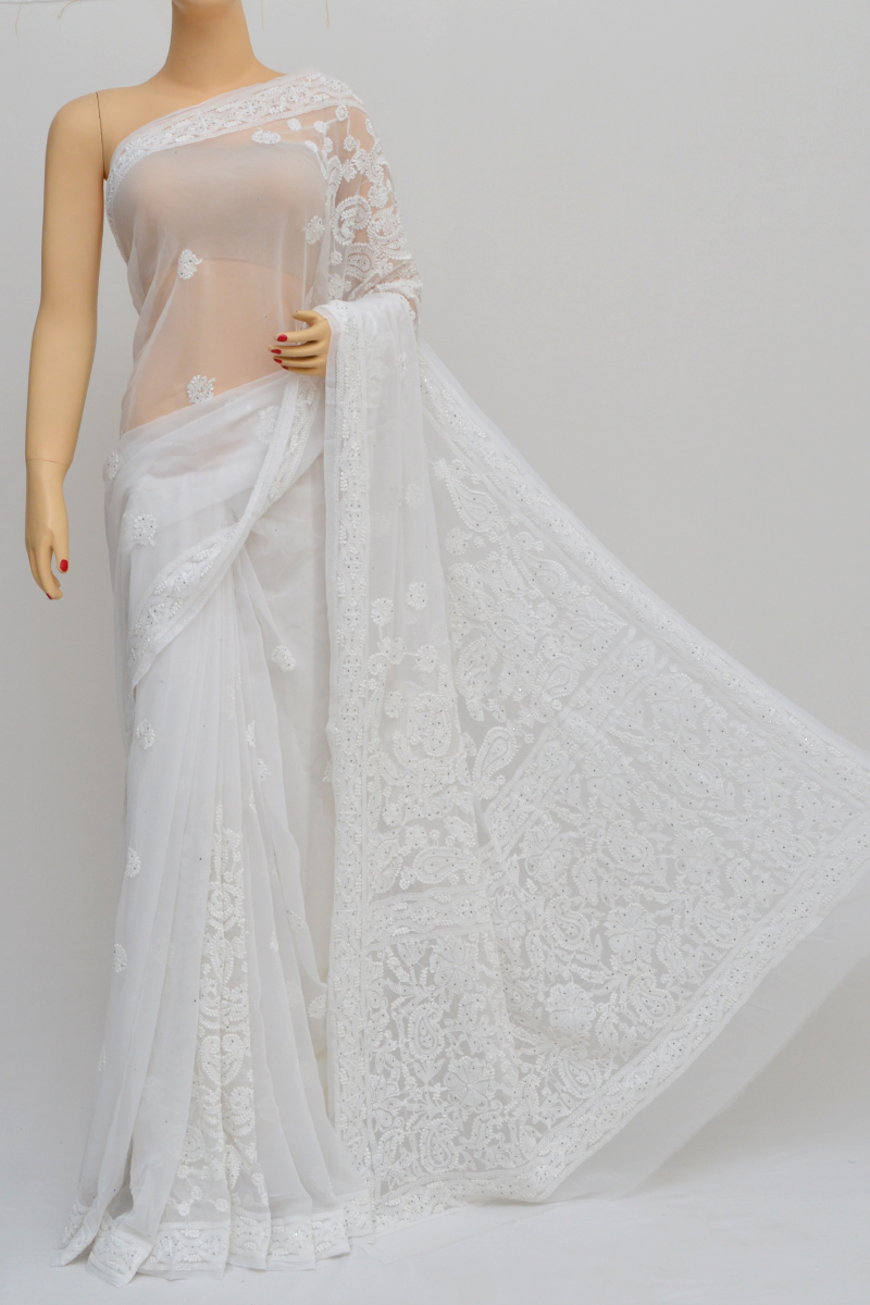 White Colour Hand Embroidered Lucknowi Chikankari Saree (with Blouse - Georgette) Sm250559